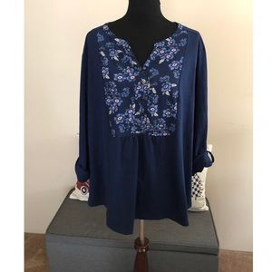 St John's Bay Navy Blue with Floral Top Size 3X
